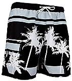 GUGGEN Mountain Herren Badeshorts Beachshorts Boardshorts Badehose Schwimmhose Männer Palmen Beach Print* Farbe Schwarz XL