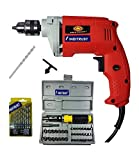 #10: Inditrust 450W electric drill machine with 13pc HSS drill set, 10mm masonry bit and 41 pc tool kit screwdriver and socket set, color may vary, chuck size - 10mm