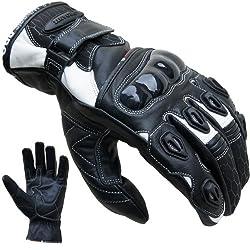 Motorradhandschuhe PROANTI® Leder kurz Motorrad Handschuhe (Gr. S-XXL weiß)