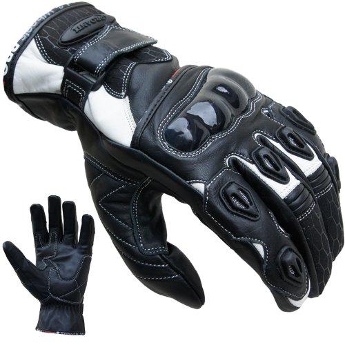 *Motorradhandschuhe PROANTI® Leder kurz Motorrad Handschuhe (Gr. S-XXL weiß)*