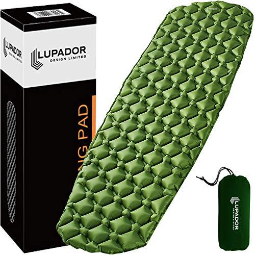 LUPADOR Design Isomatte aufblasbare Schlafmatte ultraleicht , Extrem stabil, auf abriebfestem Nylon gewebe hergestellt ,groß (198 cm) leicht (481 Gramm),aufblasbare.kompakt ideal für alle zwecke.