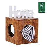 FineBuy Beistelltisch Massivholz Sheesham 35 x 35 cm Cube Wohnzimmer-Tisch Design Landhaus-Stil Couchtisch Quadratisch Modern Holztisch Natur-Produkt Braun Echt-Holz Unikat Würfel-Regal mit Stauraum