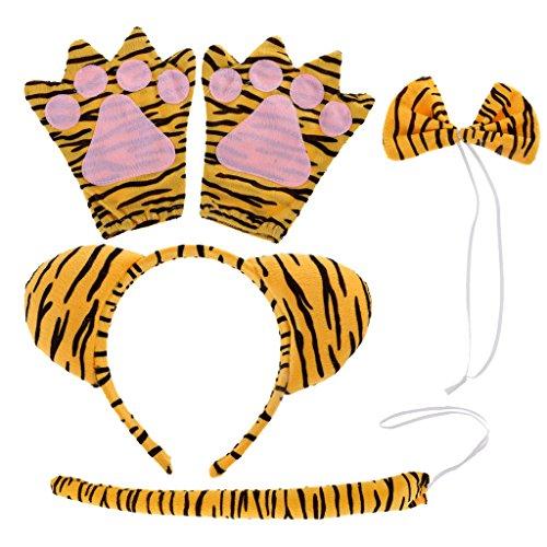 Gazechimp 3D Tier Kopfband Handschuh Schleifen Schwanz Set Tier Bauernhof Kinder Kostüm Maskenball - (Set Kostüm Tiger)