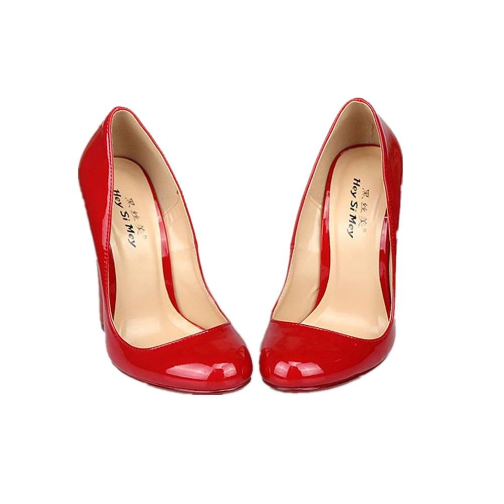 05bc3ebfe94e2 Femmes dames New Sexy Super Talon haut cale Chaussures Imperméable PU  artificielle Noir rouge Automne Printemps