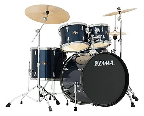 Tama IP52KH6N-MNB Imperialstar Drumkit (Komplettes Drumset inkl. Hocker, Kessel aus sechslagigem Pappelholz, doppelstrebige Hardware, inkl. Meinl MCS Beckensatz) Midnight Blue