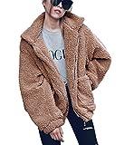 GARYOB Damen Mantel Teddy Cardigan Faux Für Revers Oversize Plüschjacke Winterjacke Kurz Coat Parka Outwear Mit Tasche