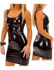 Ostenx Sexy Maxikleid Abendkleid Partykleid Elegant Pailletten ärmellos Auffällig PU Leder