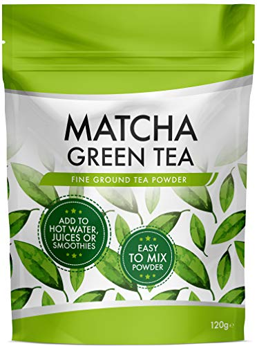 Matcha Green Tea Powder - Large 120g Resealable Pouch - Great Taste Premium Matcha Tea - Fine Ground Lump-Free Matcha - Rich Flavour Add To Water, Juice or Smoothies - Trusted UK Brand