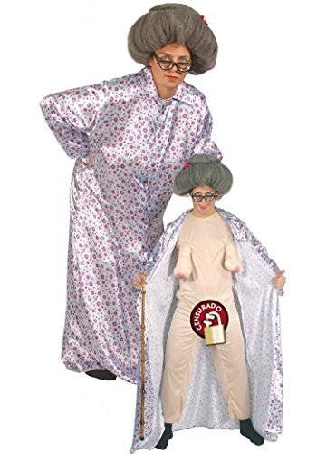 Nackte Oma Karneval Fasching JGA Party Kostüm für Erwachsene Großmutter Gr. M - L, Größe:L (Oma Nachthemd Kostüm)