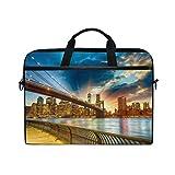 Jstel Coucher de soleil à New York City pour ordinateur portable Sac à bandoulière Case Sleeve pour 35,6cm à 39,6cm avec bandoulière réglable pour ordinateur portable