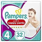 Pampers - Active Fit Pants - Couches-culottes Taille 4 (8-14 kg) - Pack Géant (x32...