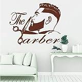 Stickers muraux pour salle de classe, salon de coiffure hommes barbe coiffure salon fenêtre toilettage mode coiffeur coupe de cheveux boutique pour photo chambre pépinière cadeau...
