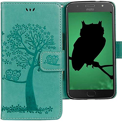 CLM-Tech Motorola Moto G5 Plus Hülle Tasche aus Kunstleder, Leder-Tasche Lederhülle, Baum Eule grün