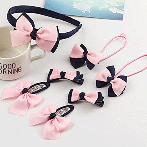 Elistelle 7 PCS Hair Accessories Set Children Hair Accessories Hair Bands Girl Hair Rope Hairpin Baby Headset Suit,Pink Navy