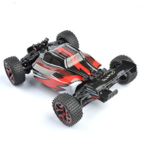 GizmoVine RC Auto 4WD Hochgeschwindigkeit 1:18 2.4Ghz Ferngesteuerter Racing Buggy Car Spielzeug , Fahrzeug mit aufladbaren Batterien, Rot
