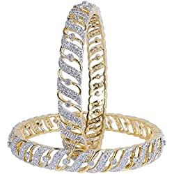 Muchmore Brass Made Diamond Look Cubic Zircons Made Bangle Set Women (2.80 In)