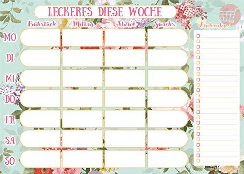 Essensplaner mit praktischer Einkaufsliste im DIN A4 Format - Mahlzeitenplaner mit 50 Blatt für die gesamte Woche - von Sophies Kartenwelt - Essen Block
