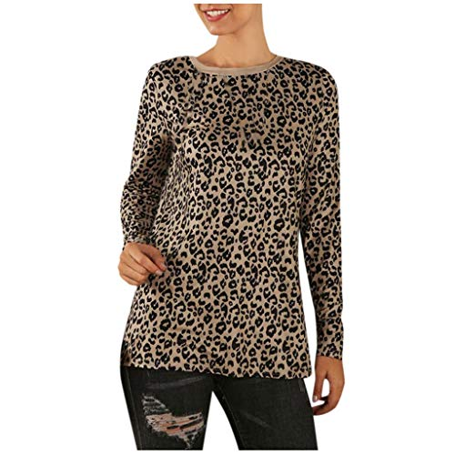 Hanomes Frauen Pullover Damen Lässiges Leopardenmuster langärmliges Top Bluse Damen Rundhals Freizeit Nähen Tops Damen Reißverschluss Jacket Casual Chiffon Langarm Top Tunika (Seide Bluse Chiffon Wickel)