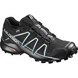 Salomon Speedcross 4 GTX W, Zapatillas de Trail Running para Mujer, Negro (Black/Black/Metallic Bubble Blue), 38 EU