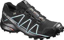 Salomon Damen Trail Running Schuhe, SPEEDCROSS 4 GTX W, Farbe: schwarz (black/black/metallic bubble blue) Größe: EU 39 1/3