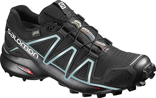 Salomon Damen Speedcross 4 Gtx Traillaufschuhe , Schwarz (Black/Black/Metallic Bubble Blue) , 36 2/3 EU
