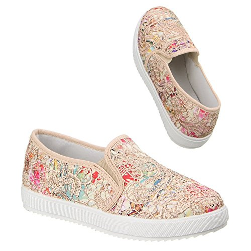Slipper Damen Schuhe Low-Top Pailetten Deko Ital-Design Halbschuhe Beige Multi W-61-