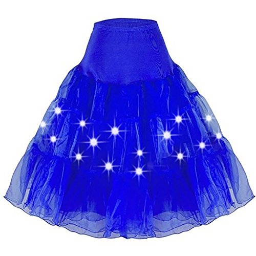 HENCY Karneval Fasching Kostüm Retro Petticoat Rock Ballett Tutu Unterrock Mit LED Licht (Zombie Kostüme Einhorn)