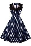 MisShow Robe de Soirée Vintage année 50s Chic Mi Longue sans Manche Imprimée Jointif à Pois Swing Plissée en Coton Bleu Marine S