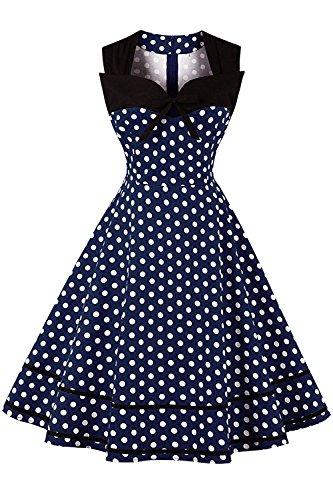 MisShow Robe de Soirée Elégante Courte Mi Longue pour Mariage pour Femme Vintage année 60s Imprimée à Pois Rockabilly Pin up Bleu Marine M