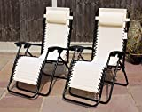 SET OF 2 GARDEN GRAVITY SUN LOUNGER FOLDING SUN BED RELAXING RECLINING CHAIRS (Natural)