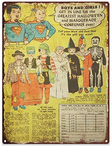Kostüm Werbung Von - Yohoba Superhelden-Halloween-Kostüm-Werbung, gebackenes Metall, Reproschild, 20,3 x 30,5 cm