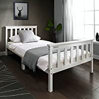 European Beds Direct tinkertonk 3FT Premium Single Wooden Bed Frame White Single Size Solid Pine Wood Bedstead (White)