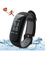 Montre Cardio, OMORC Bracelet Connecté Sport Cardiofréquencemètre Smartwatch Bluetooth 4.0 Montre GPS Etanche IP67 Tracker d'activité Podomètre pour iPhone Android Smartphones