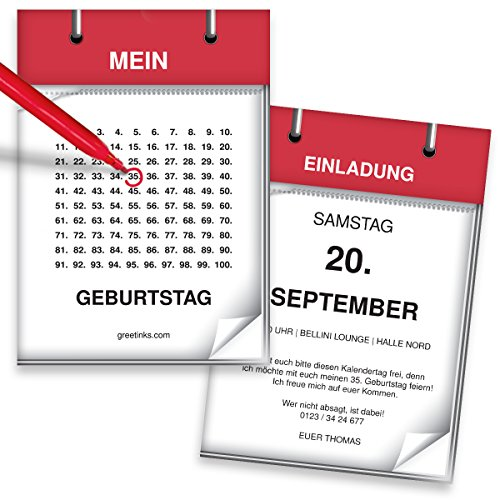 Einladungskarten Geburtstag als Kalender   40 Stück   Kalenderblatt   Inkl. Druck Ihrer Texte   Einladungen Geburtstag   Lustige Geburtstagseinladungen   Witzige Einladungskarte   Karte Einladung