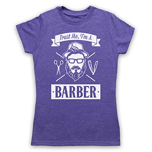 Trust Me I'm A Barber Funny Work Slogan Damen T-Shirt Jahrgang Violett