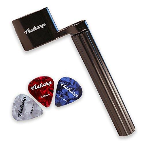 Asharp Saitenkurbel inkl. 3 Plektren - Premium Saiten-Kurbel für schnelles Saitenwechsel - Für alle Gitarrentypen