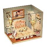 Domybest Casa delle Bambole in Legno Fai da Te Miniature Casa delle Bambole con Mobili Giocattolo Casa Felice DIY Modello da Costruire Artigianato Regalo