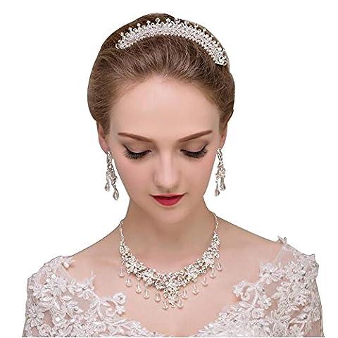 DUUMY Coiffe De Mariée Collier Couronne Trois Pièces à La Main Cristal Boucle D'oreille Ensembles Accessoires Bijoux de Mariage Mariés , 1