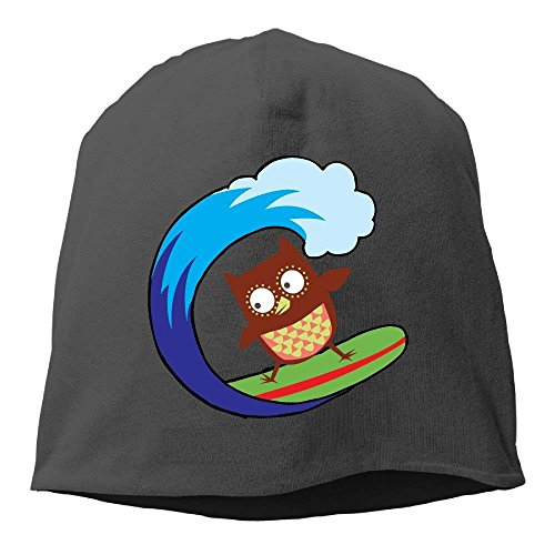 69e2c2594c1 Crazy Cool Surfing Owl Unisex Knit Hat Soft Stretch Beanies Skull Cap  Hedging Cap Black