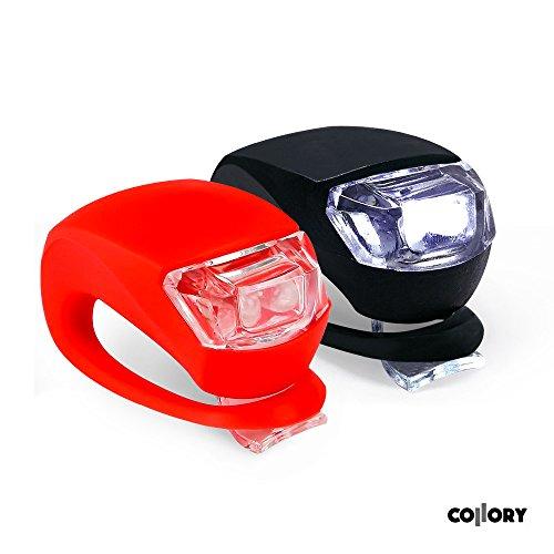 Preisvergleich Produktbild Collory mini LED Silikon-Leuchte Set inkl. Batterien 6V | Kinderwagen-Beleuchtung | Rollstuhl-Leuchten | Roller-Blinklicht | Sicherheitsbeleuchtung | Warnlicht | Kinder-Lampen-Set | Wasserfest | Rot-Weiß | einfache Montage: Clip-On (2er Set: Rot (rotes Licht) + Schwarz (weißes Licht))