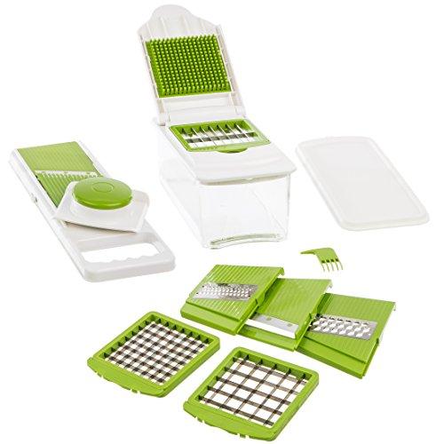 Levivo 7-in-1 Multifunktionsschneider für Obst und Gemüse, Obstschneider, Gemüseschneider, Multifunktionales Küchenhelferset, unterstützt diverse Schneide-Möglichkeiten, Weiß / Grün