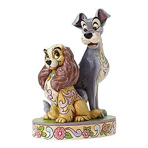 Enesco Disney Tradition Oggetto Decorativo Lilly e il Vagabondo 60Th Anniversario, Resina, Multicolore