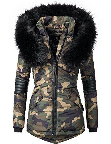 Navahoo nirvana giacca invernale da donna con cappuccio in pelliccia sintetica nera camuffamento m