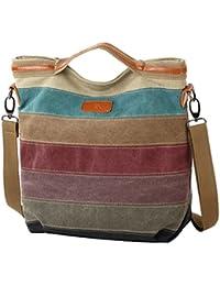 FreeMaster Women's Canvas Multi-Color Hobos Shoulder Bag Tote Handbag