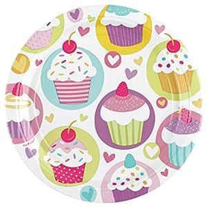 Amscan - 997210 - 8 Assiettes Cupcake 18 cm