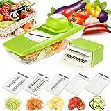 Mandolina de Cocina,Rebanadora de mandolinas, cortadora de verduras multifuncional con 5 cuchillas intercambiables de acero inoxidable, para verduras, frutas, queso y cebolla