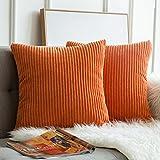 MIULEE Funda Protectore Cojín Cojines de Almohada Decorativa Cuadrado Corduroy Pana a Rayas Moderna Suave para Sofá Silla Cama Sala de Estar Dormitorio 24'x24',2 Piezas Naranja