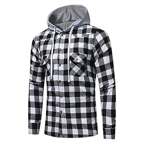 Bluestercool Hommes Sweat à Capuche Manche Longue Treillis Imprimé Plaid Sweat-shirt Tops (L,