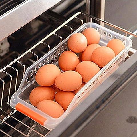 CrazySell Refrigerator Durable Storage Organizer Fruit Handled Kitchen Collecting Box Basket Rack Stand Basket Container (2Pcs)