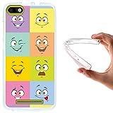 WoowCase Funda Wiko Lenny 3, [Wiko Lenny 3 ] Funda Silicona Gel Flexible Emoticono Emoji Caras Multicolor, Carcasa Case TPU Silicona - Transparente